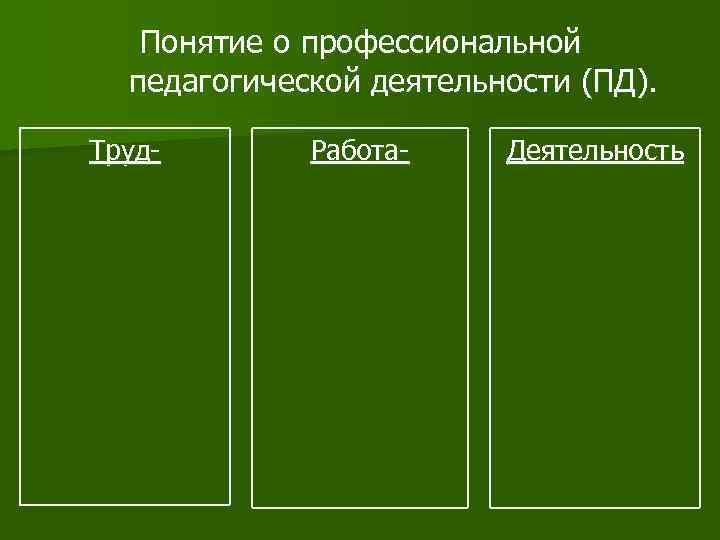 Понятие о профессиональной  педагогической деятельности (ПД).  Труд-  Работа- Деятельность