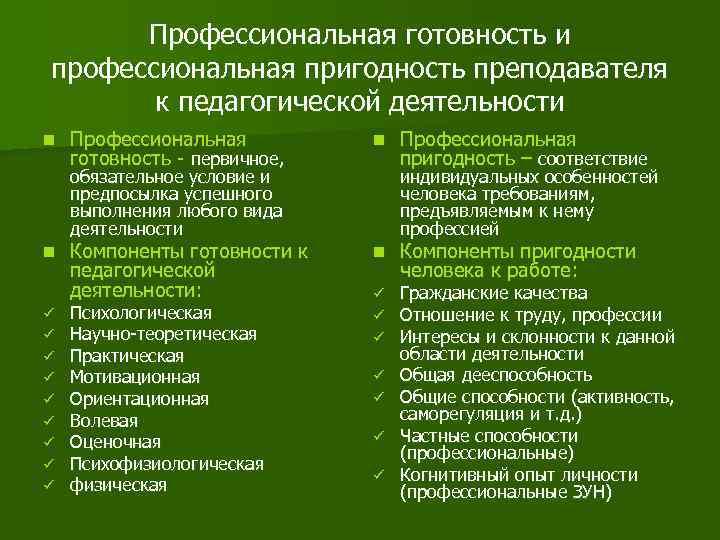 Профессиональная готовность и профессиональная пригодность преподавателя  к педагогической деятельности n  Профессиональная