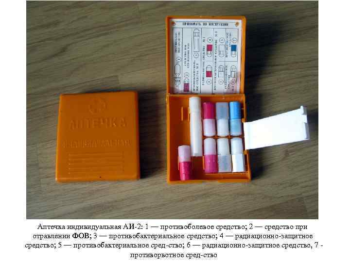 Аптечка индивидуальная АИ 2: 1 — противоболевое средство; 2 — средство при