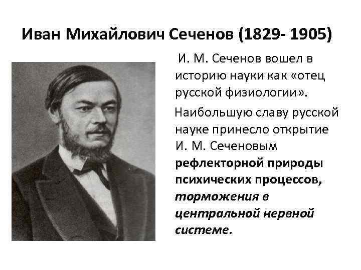 Иван Михайлович Сеченов (1829 - 1905)     И. М. Сеченов вошел