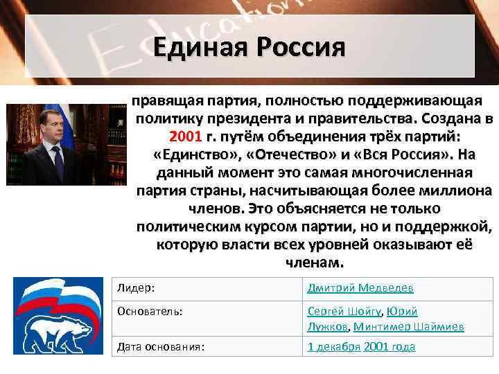 Единая Россия  правящая партия, полностью поддерживающая политику президента и правительства. Создана в