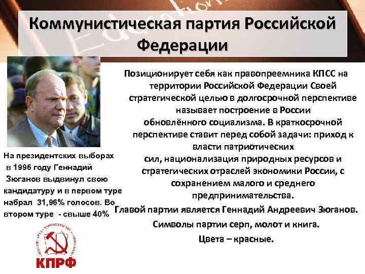 Коммунистическая партия Российской   Федерации     Позиционирует себя как
