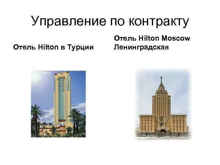 Управление по контракту     Отель Hilton Moscow Отель Hilton