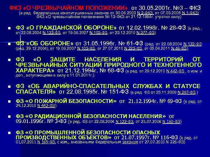 ФКЗ «О ЧРЕЗВЫЧАЙНОМ ПОЛОЖЕНИИ»  от 30. 05. 2001 г. № 3 – ФКЗ