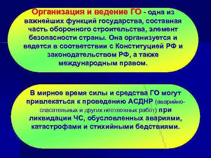 Организация и ведение ГО - одна из важнейших функций государства, составная  часть