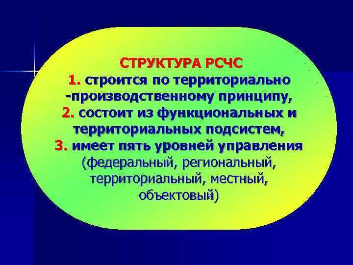 СТРУКТУРА РСЧС  1. строится по территориально -производственному принципу,  2.