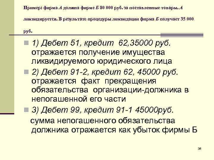 Пример: фирма А должна фирме Б 80 000 руб. за поставленные товары. А ликвидируется.
