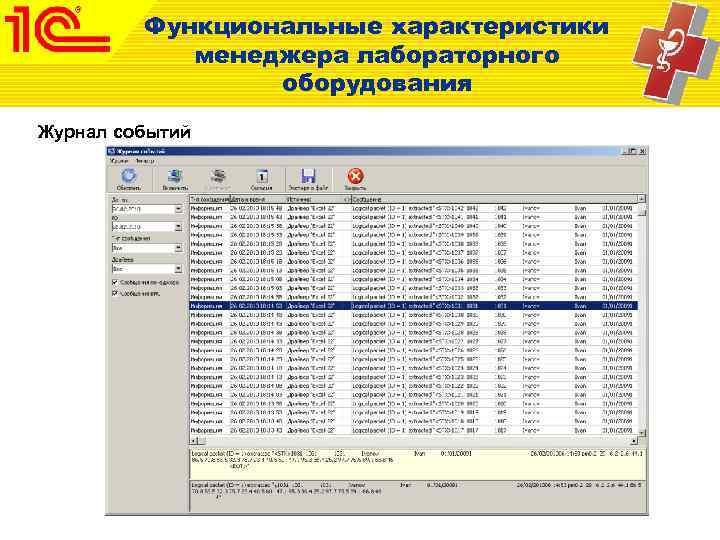 Функциональные характеристики   менеджера лабораторного   оборудования Журнал событий