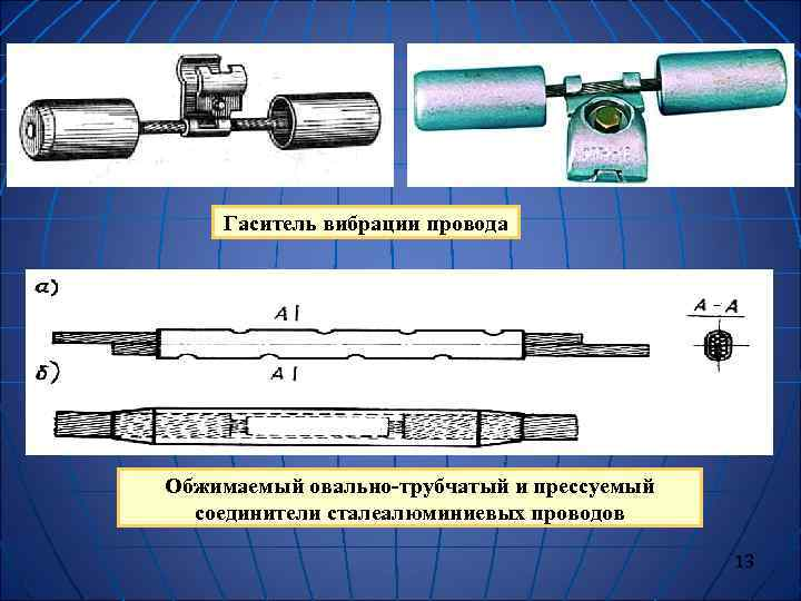 Гаситель вибрации провода Обжимаемый овально-трубчатый и прессуемый  соединители сталеалюминиевых проводов