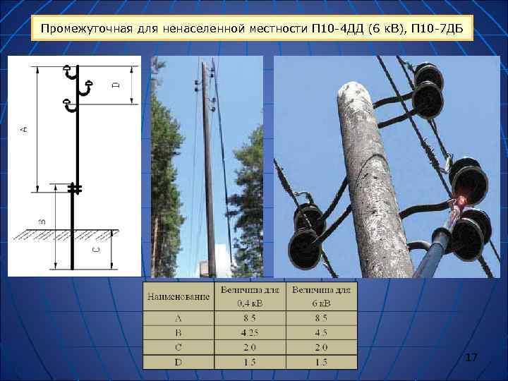 Промежуточная для ненаселенной местности П 10 -4 ДД (6 к. В), П 10 -7