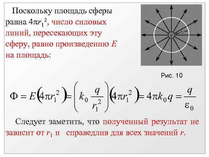 Поскольку площадь сферы равна 4 r 12, число силовых линий, пересекающих эту сферу,