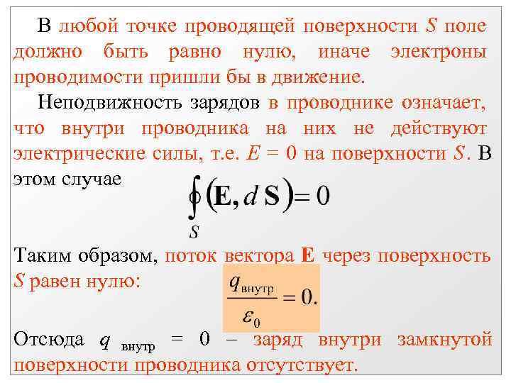В любой точке проводящей поверхности S поле должно быть равно нулю, иначе электроны