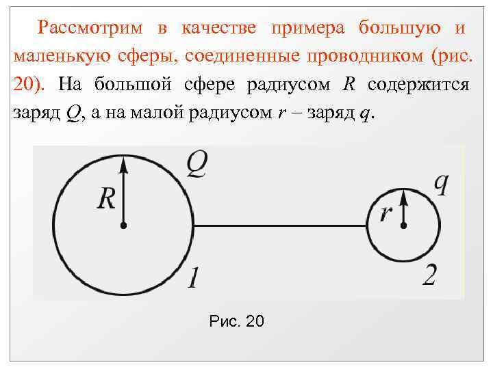 Рассмотрим в качестве примера большую и маленькую сферы, соединенные проводником (рис. 20).