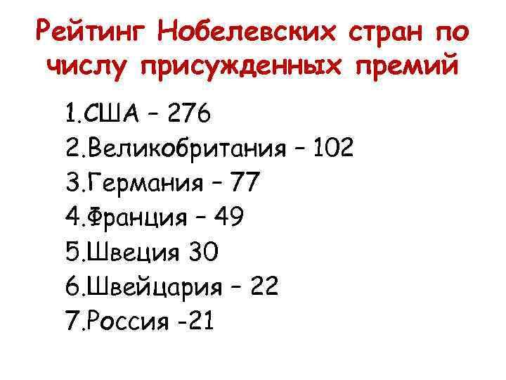 Рейтинг Нобелевских стран по числу присужденных премий 1. США – 276 2. Великобритания –