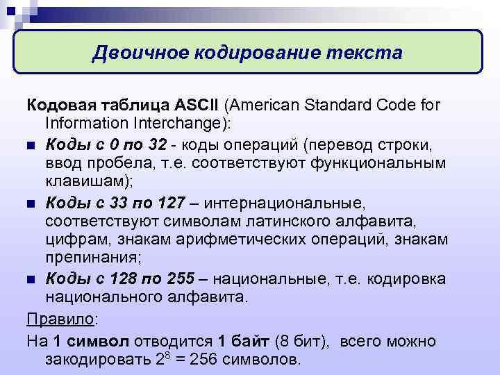 Двоичное кодирование текста Кодовая таблица ASCII (American Standard Code for  Information