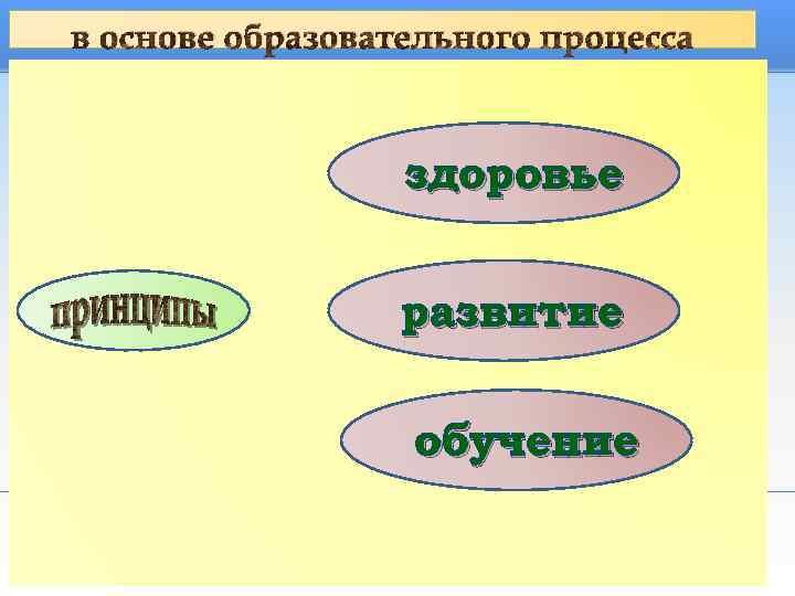 в основе образовательного процесса     здоровье     развитие