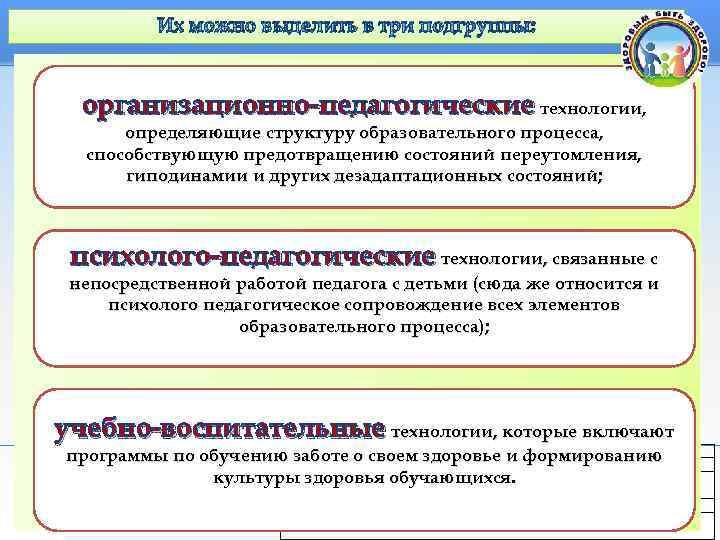 Их можно выделить в три подгруппы:  организационно-педагогические технологии,