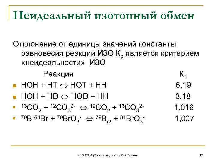 Неидеальный изотопный обмен Отклонение от единицы значений константы  равновесия реакции ИЗО Кр является