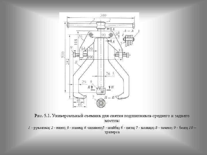 Рис. 5. 1. Универсальный съемник для снятия подшипников среднего и заднего