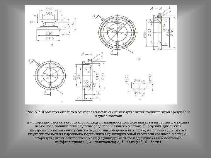 Рис. 5. 2. Комплект оправок к универсальному съемнику для снятия подшипников среднего и