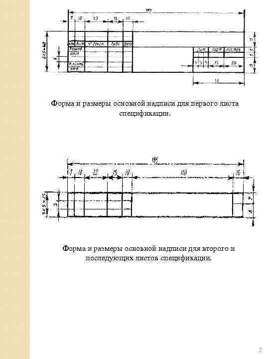 Форма и размеры основной надписи для первого листа    спецификации.