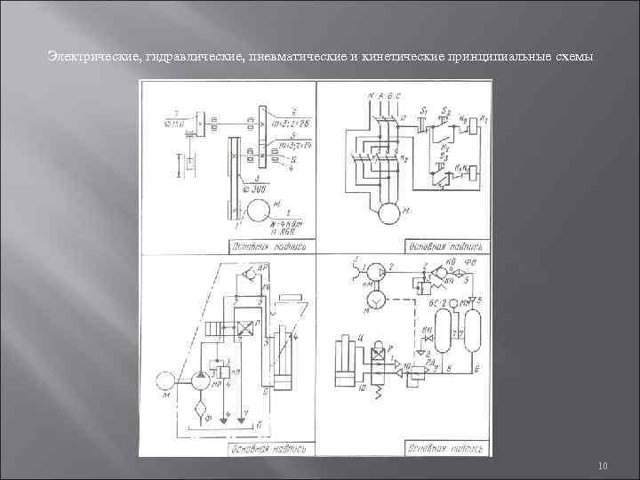 Электрические, гидравлические, пневматические и кинетические принципиальные схемы
