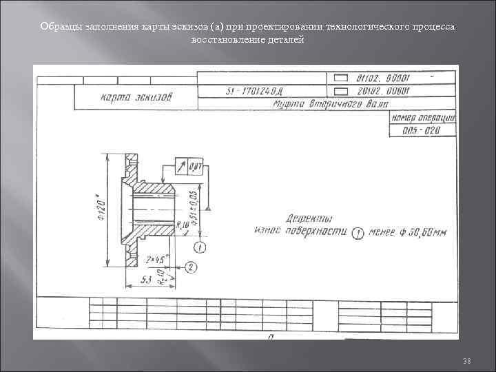 Образцы заполнения карты эскизов (а) при проектировании технологического процесса     восстановление