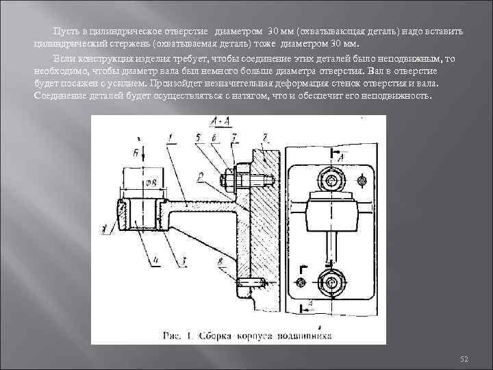 Пусть в цилиндрическое отверстие диаметром 30 мм (охватывающая деталь) надо вставить цилиндрический