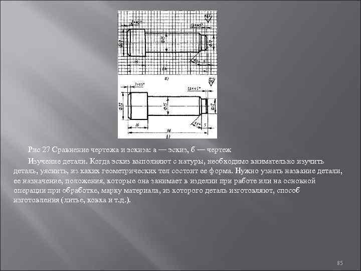 Рис 27 Сравнение чертежа и эскиза: а — эскиз, б — чертеж