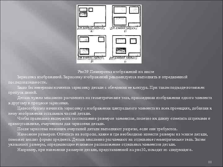 Рис29 Планировка изображений на листе Зарисовка изображений. Зарисовку