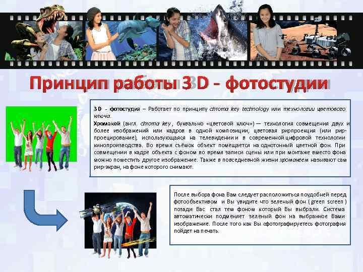 Принцип работы 3 D - фотостудии  3 D - фотостудия – Работает по