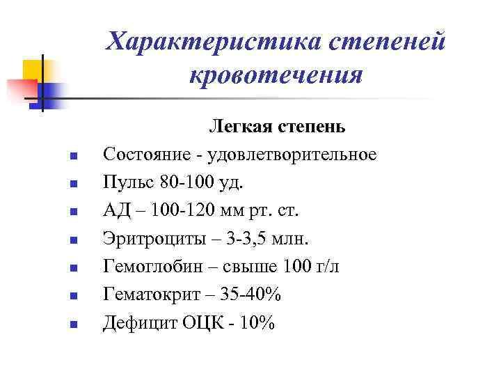 Характеристика степеней   кровотечения   Легкая степень n  Состояние