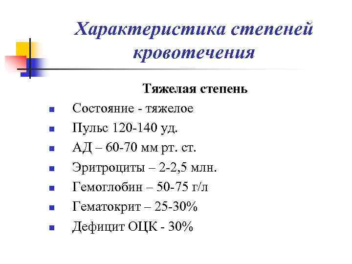 Характеристика степеней   кровотечения    Тяжелая степень n