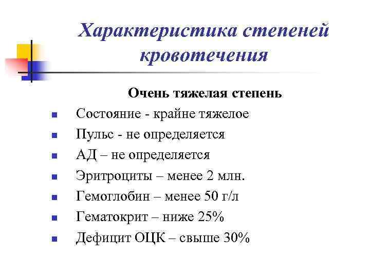 Характеристика степеней   кровотечения   Очень тяжелая степень n