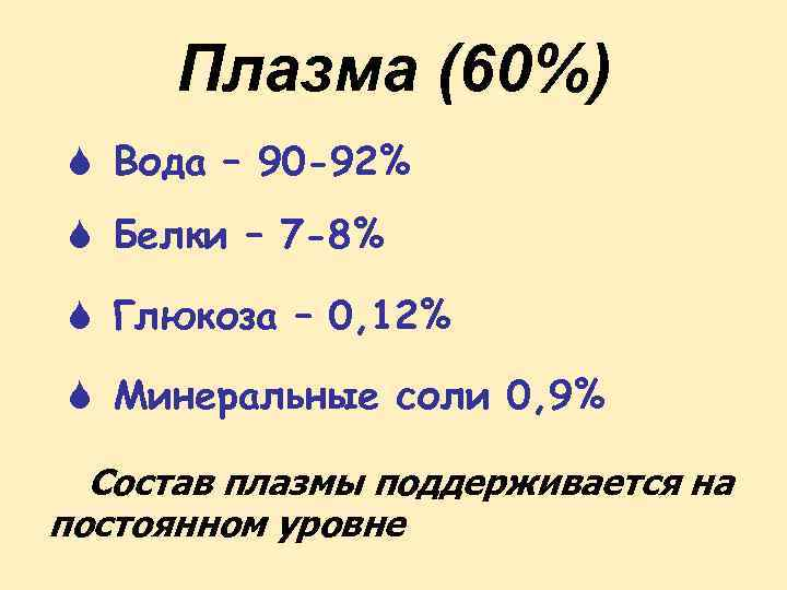 Плазма (60%) S Вода – 90 -92% S Белки – 7 -8% S