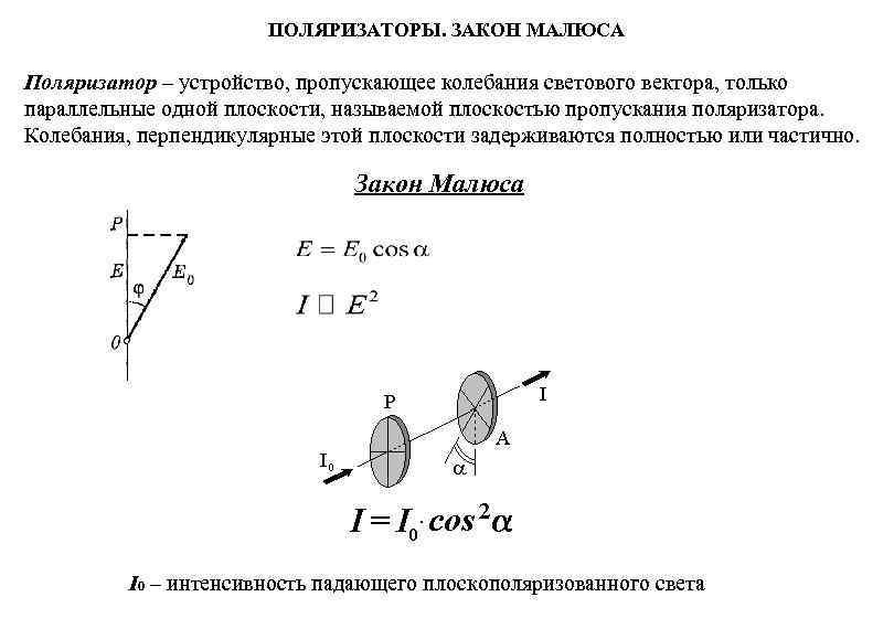 ПОЛЯРИЗАТОРЫ. ЗАКОН МАЛЮСА Поляризатор – устройство, пропускающее колебания светового вектора,