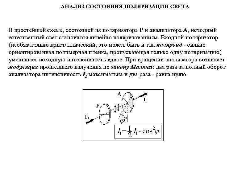 АНАЛИЗ СОСТОЯНИЯ ПОЛЯРИЗАЦИИ СВЕТА  В простейшей схеме, состоящей из поляризатора