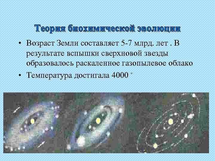 Теория биохимической эволюции • Возраст Земли составляет 5 -7 млрд. лет. В