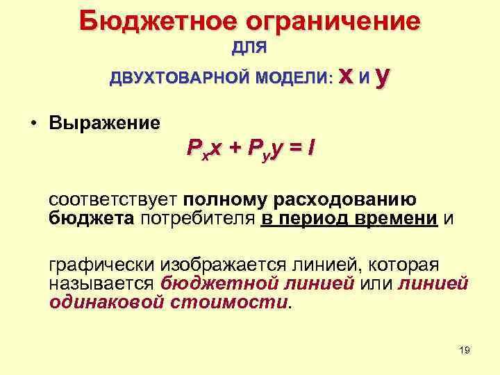 Бюджетное ограничение    ДЛЯ  ДВУХТОВАРНОЙ МОДЕЛИ:  x. Иy