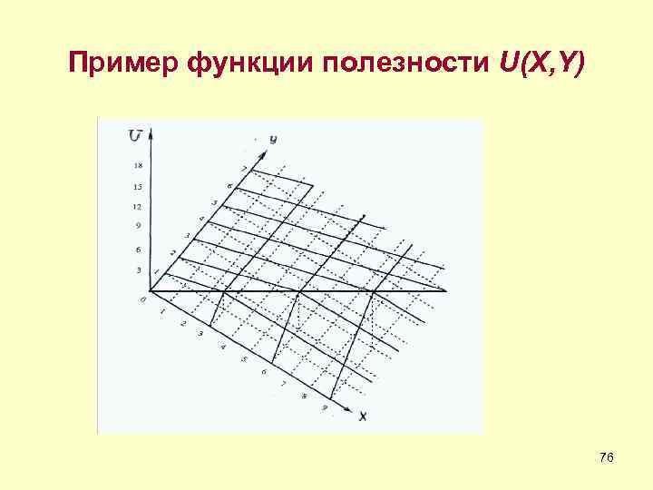 Пример функции полезности U(X, Y)    76