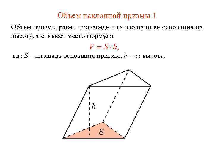 Объем наклонной призмы 1 Объем призмы равен произведению площади ее основания