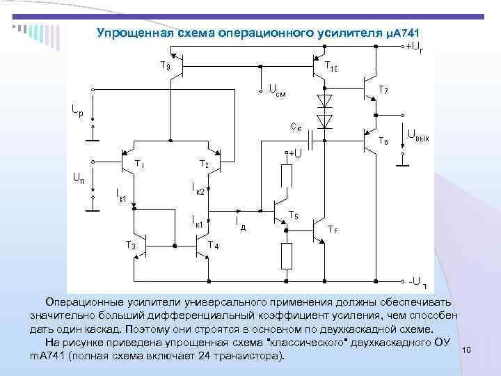 Упрощенная схема операционного усилителя μA 741  Операционные усилители универсального применения должны