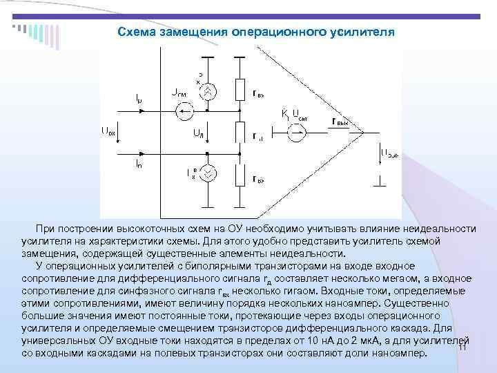 Схема замещения операционного усилителя  При построении высокоточных схем на ОУ