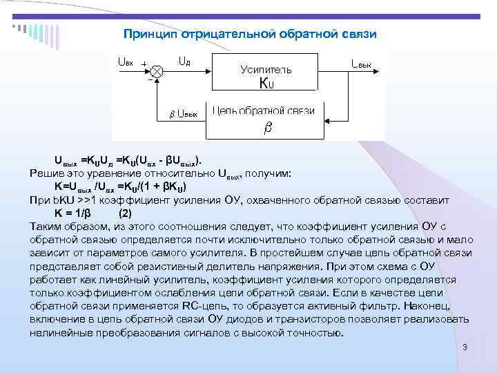 Принцип отрицательной обратной связи   Uвых =KUUд =KU(Uвх -