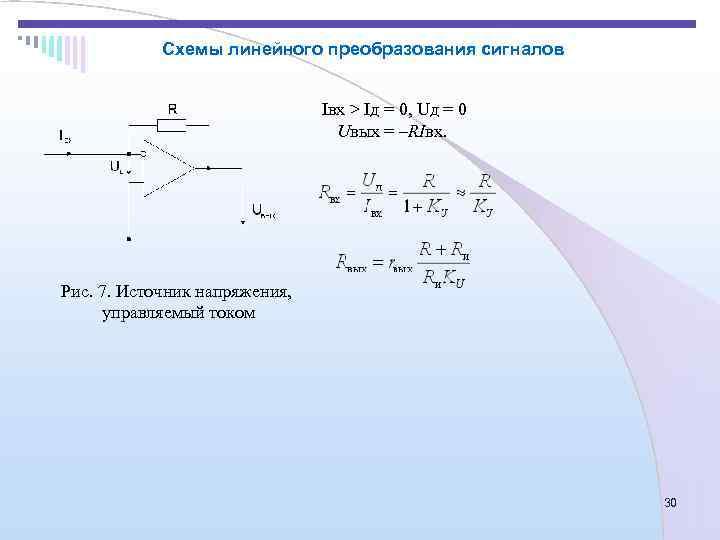 Схемы линейного преобразования сигналов       Iвх >