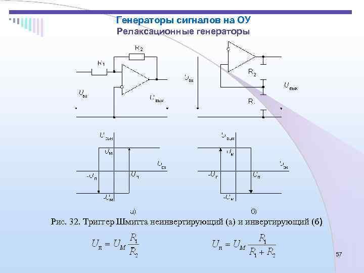 Генераторы сигналов на ОУ   Релаксационные генераторы Рис. 32.