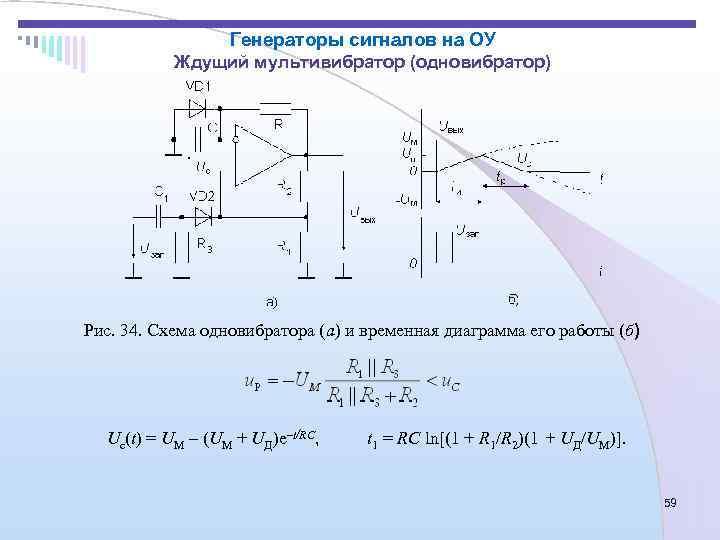 Генераторы сигналов на ОУ   Ждущий мультивибратор (одновибратор) Рис. 34.