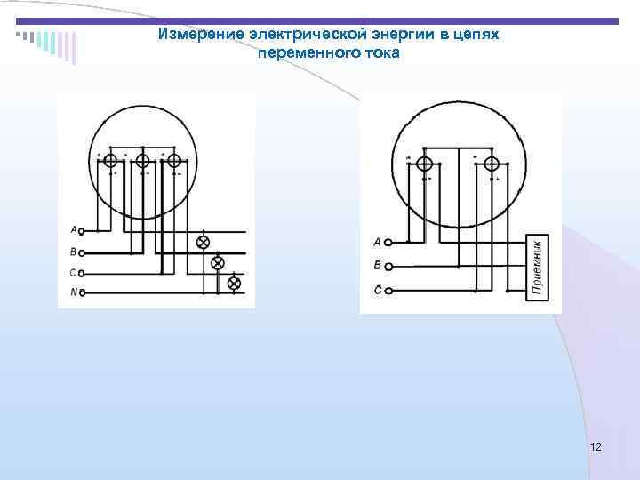 Измерение электрической энергии в цепях  переменного тока    12