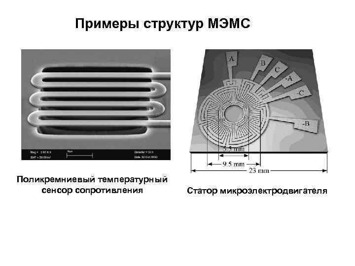 Примеры структур МЭМС Поликремниевый температурный сенсор сопротивления  Статор микроэлектродвигателя