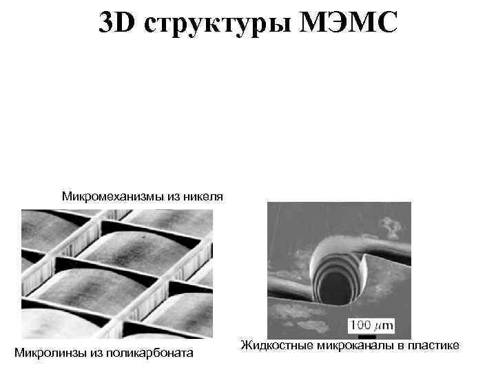 3 D структуры МЭМС  Микромеханизмы из никеля    Жидкостные